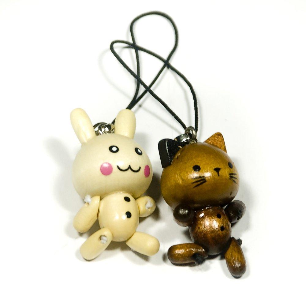 HC-C029-RACA[Smile Cat & Rabbit] - Cell Phone Charm Strap / Camera Charm Strap / Handbags Charms