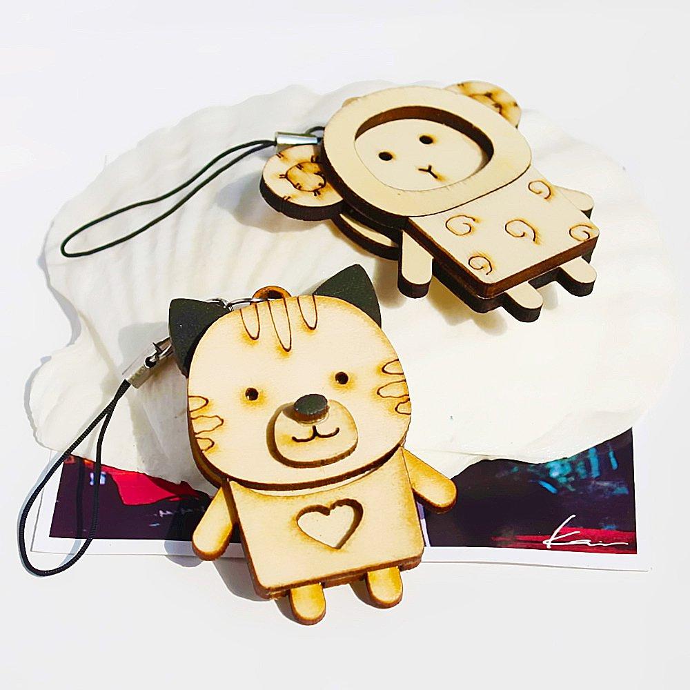 HC-C032-SHCA[Wooden Animals-5] - Cell Phone Charm Strap / Camera Charm Strap / Handbags Charms