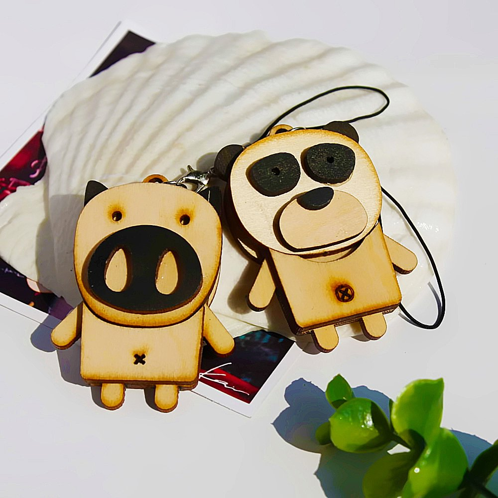 HC-C032-PIPA[Wooden Animals-6] - Cell Phone Charm Strap / Camera Charm Strap / Handbags Charms