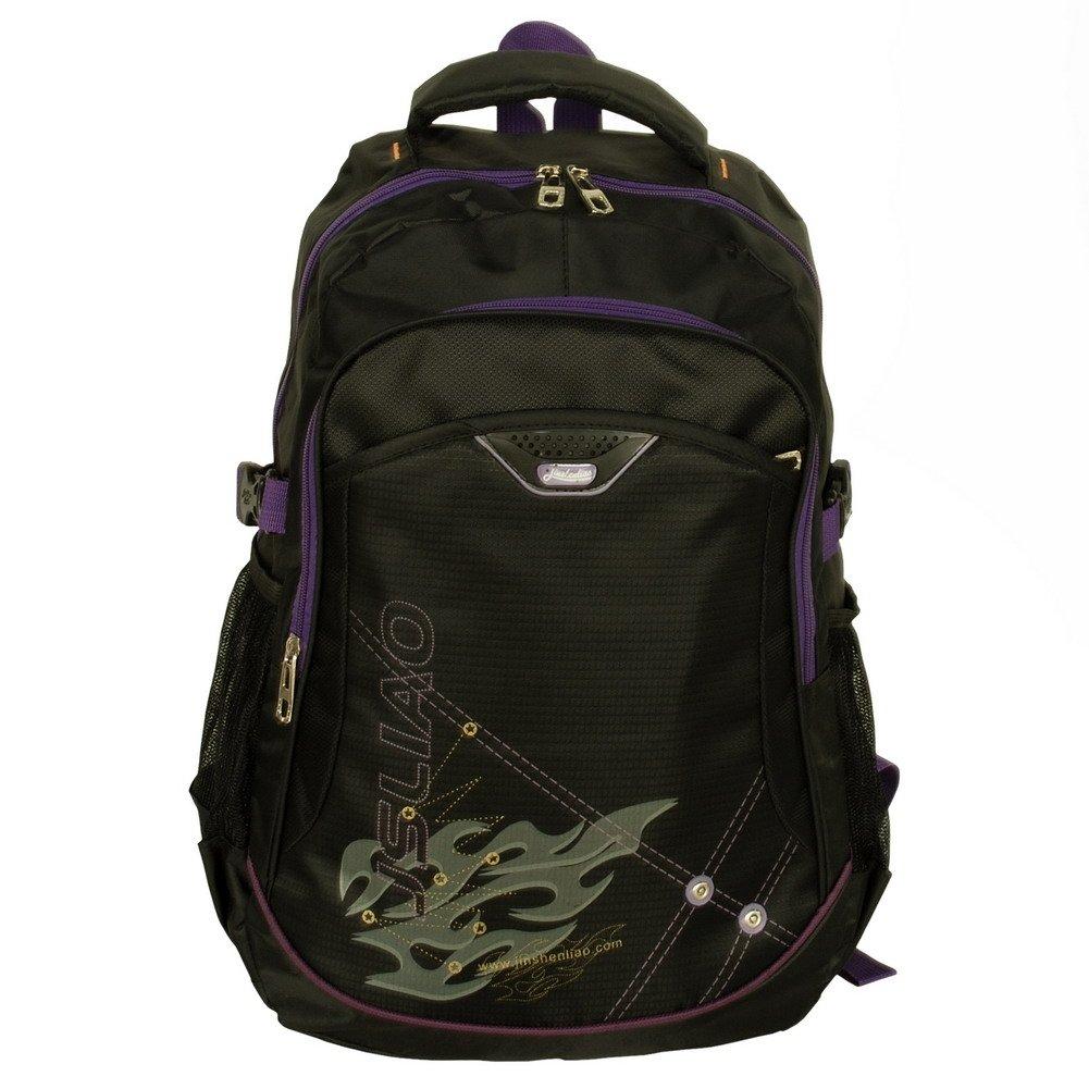 BP-WDL023-BLACK[Purple Zipper] Multiurpose Backpack / School Bag /  Outdoor Backpack - Black
