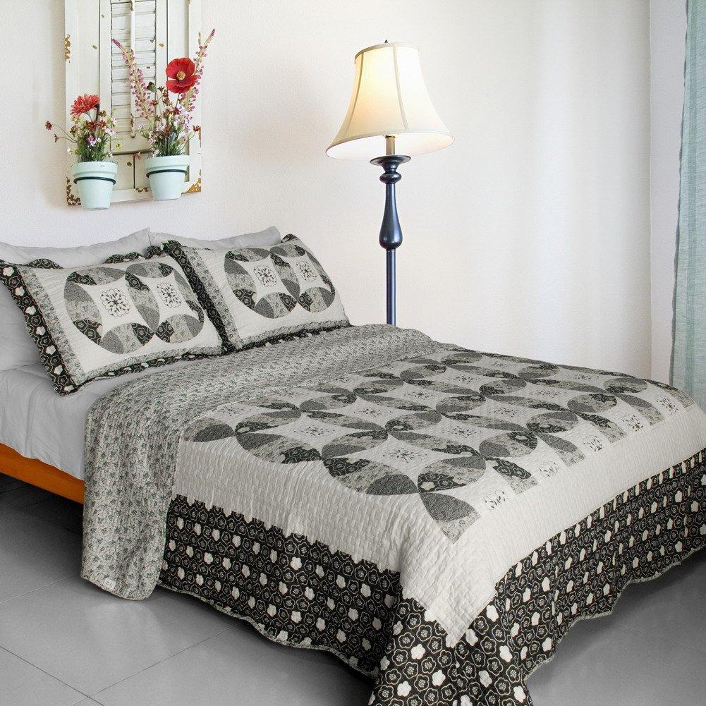 QTS-SJIN9037-23[Francesca] 3PC Vermicelli-Quilted Patchwork Quilt Set (Full/Queen Size)