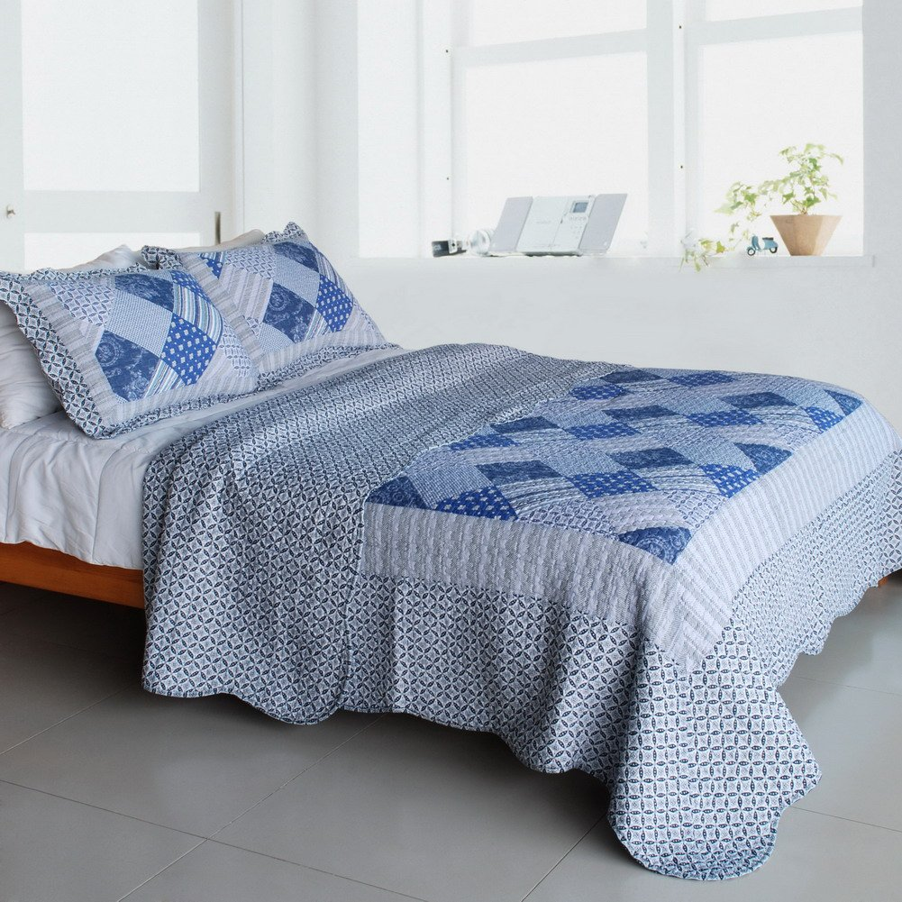 QTS-SJIN9148-23[Blue Squares] 3PC Vermicelli-Quilted Patchwork Quilt Set (Full/Queen Size)