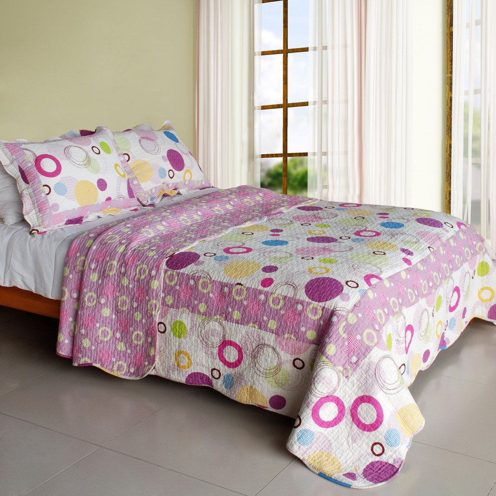 QTS-SJIN9166-23[Colorful Bubble] 3PC Vermicelli-Quilted Patchwork Quilt Set (Full/Queen Size)