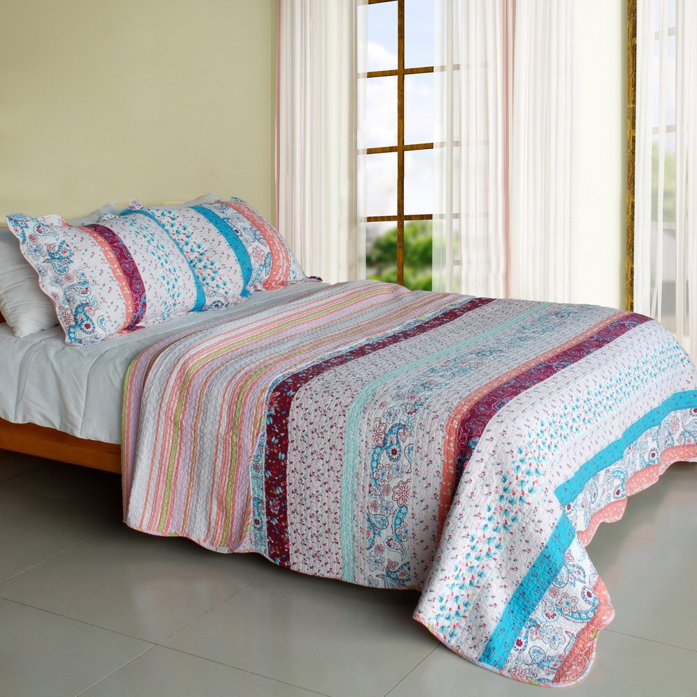 QTS-SJIN9218-23[Floral Paisley] 3PC Vermicelli-Quilted Patchwork Quilt Set (Full/Queen Size)