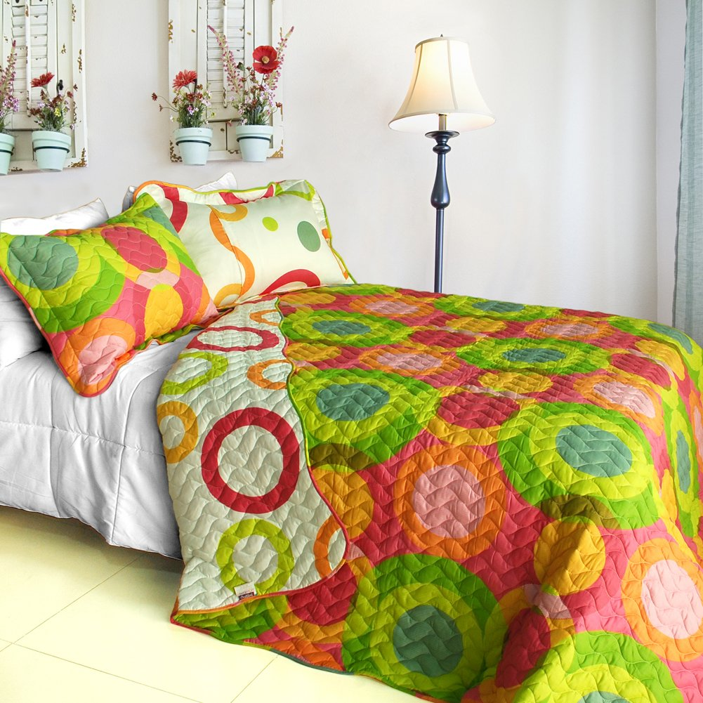 ONITIVA-QTS01036-4[Colorful Doughnut] 3PC Patchwork Quilt Set (King Size)
