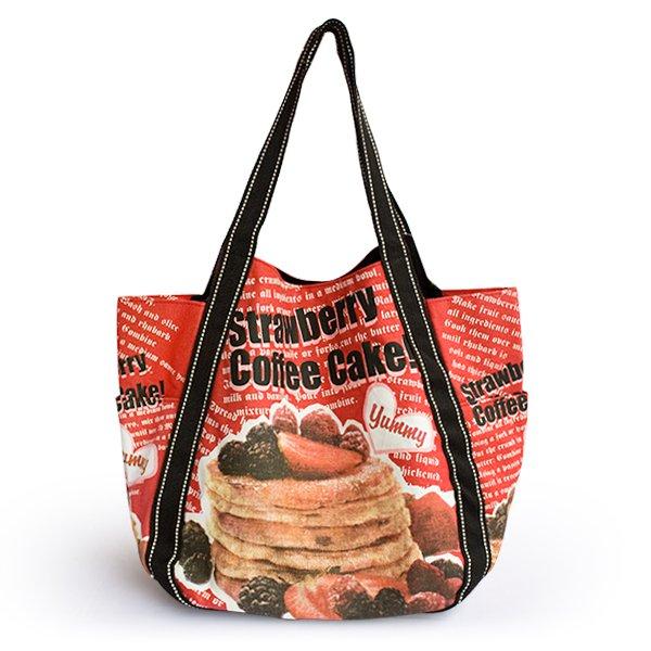 ILEA-ABG-03031[Coffee Cake] Cotton Eco Canvas Shoulder Tote Bag / Shopper Bag Multiple Pockets