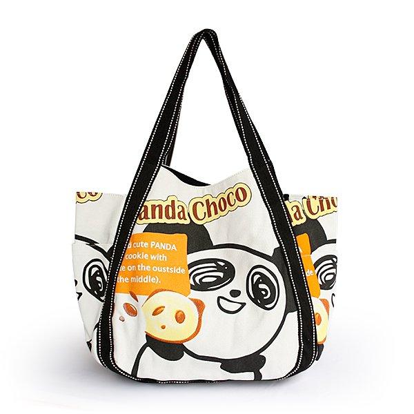 ILEA-ABH-04041[Panda Choco] Cotton Eco Canvas Shoulder Tote Bag / Multiple Pockets