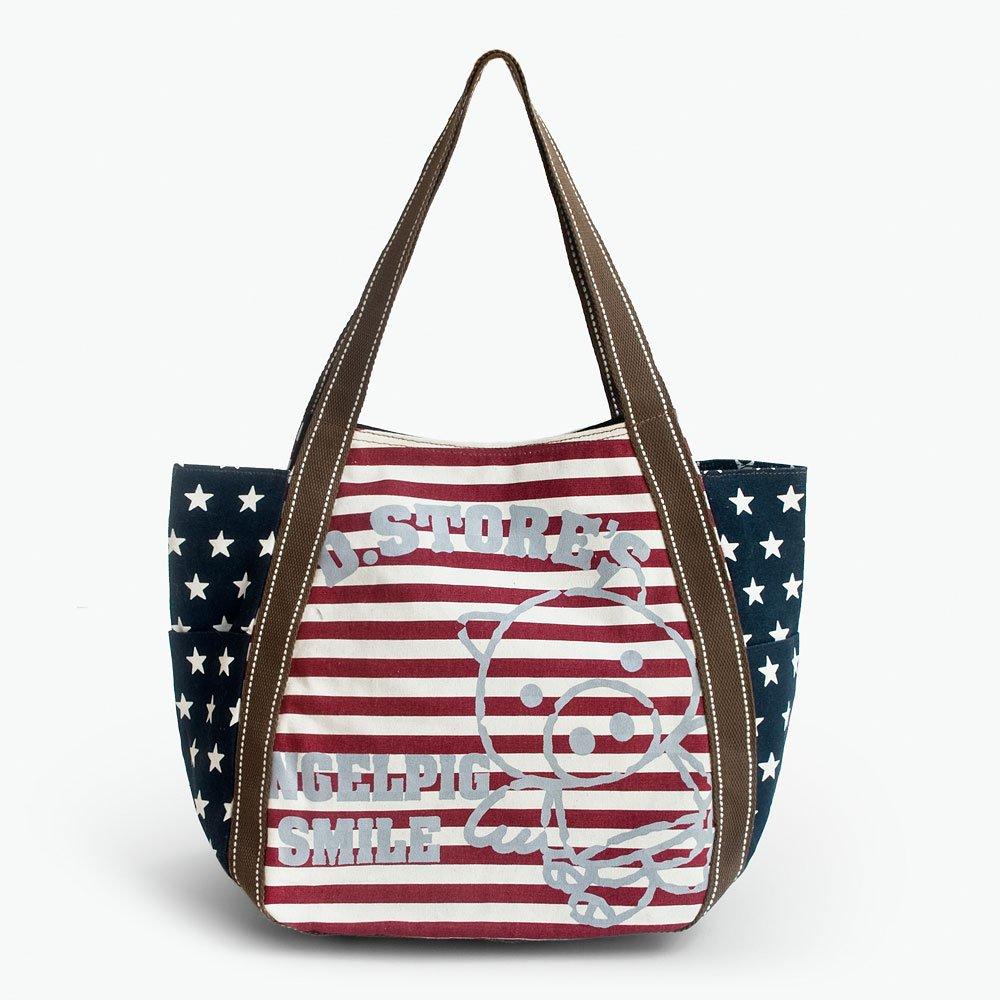 ILEA-AKH-00113[Red Smile Pig] Cotton Eco Canvas Shoulder Tote Bag / Multiple Pockets