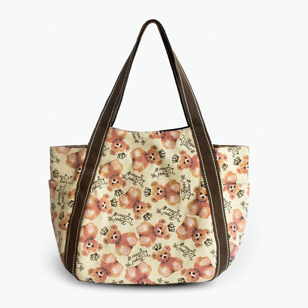 ILEA-AKS-00109[Crown Mini Bear] Cotton Eco Canvas Shoulder Tote Bag / Multiple Pockets