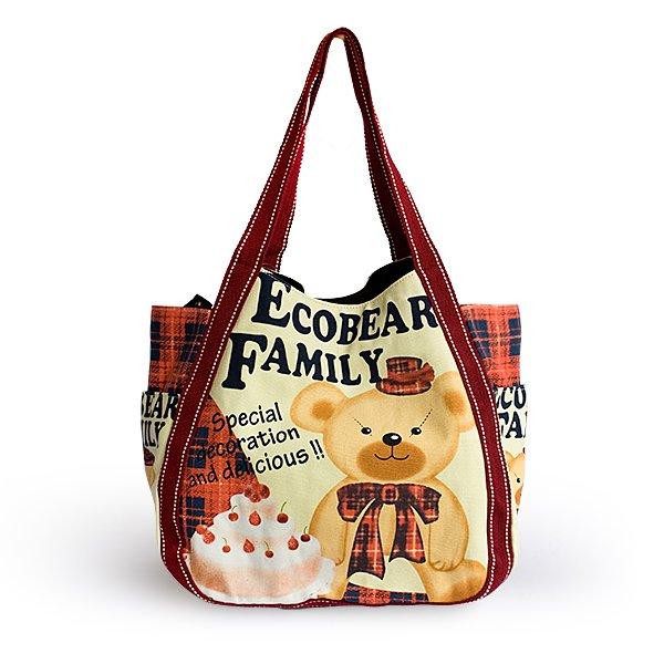 ILEA-ARJ-02005[Ecobear Family] Cotton Eco Canvas Shoulder Tote Bag / Multiple Pockets