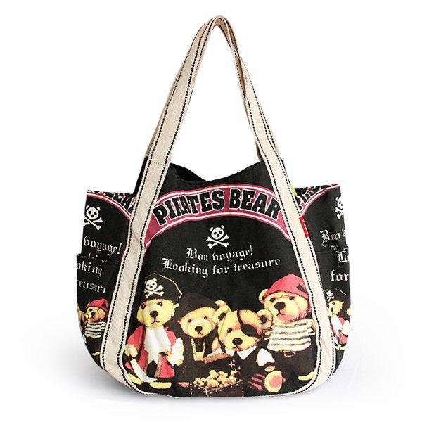 ILEA-AWH-03011[Pirates Bear] Cotton Eco Canvas Shoulder Tote Bag / Multiple Pockets