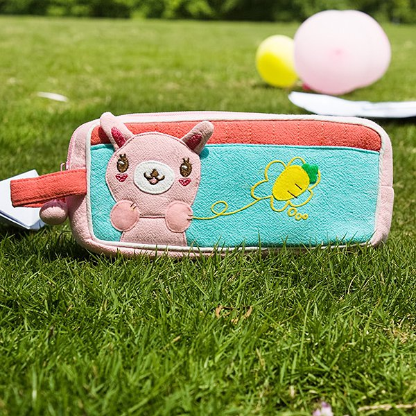 KT-BB-17-RABBIT[Rabbit & Carrot] Pencil Pouch Bag / Cosmetic Bag / Carrying Case (7.3*3.3*1.4)
