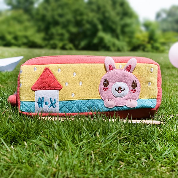 KT-BB-20-RABBIT[Rabbit's Home] Pencil Pouch Bag / Cosmetic Bag / Carrying Case (7.5*2.8*1.4)
