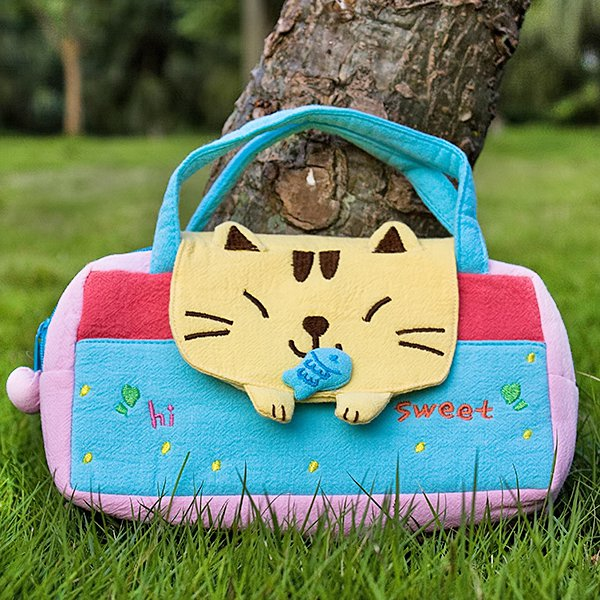 KT-BB-22-CAT[Sweet Cat] Kids Mini Handbag / Cosmetic Bag / Travel Wallet (7.8*5.5*1.4)