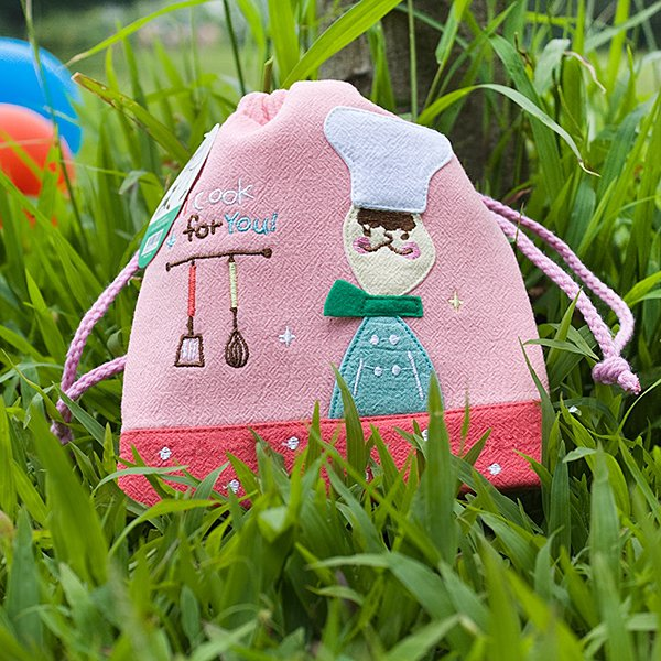 KT-BE-11-PINK[Cook for you] Fabric Art Draw String Bag Drawstring Pouch (5.7*6.7)