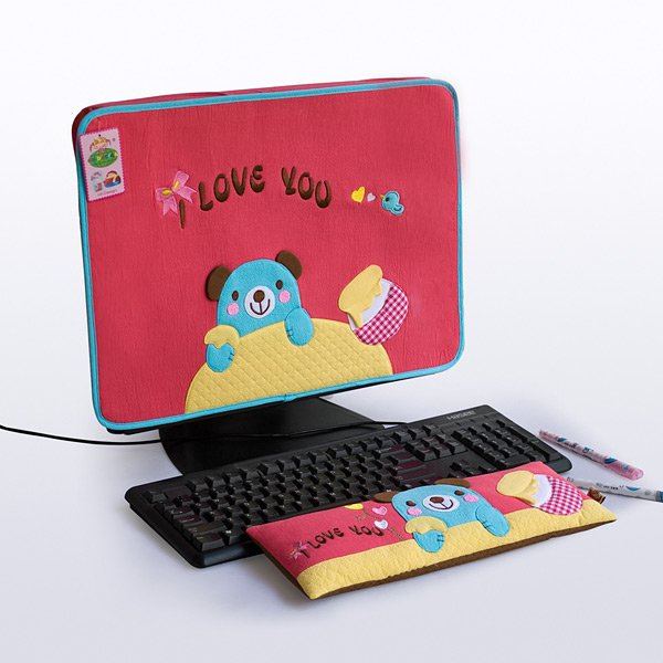 KT-BE-14-RED[Blue Bear-Red] Fabric Art 17 inch Monitor Screen Cover & Wrist Rest Pad
