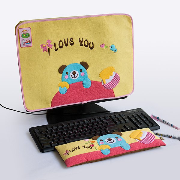 KT-BE-15-YELLOW[Blue Bear-Yellow] Fabric Art 17 inch Monitor Screen Cover & Wrist Rest Pad