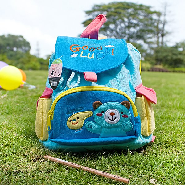 KT-BE-19-BEAR[Blue Bear] Kids Fabric Art School Backpack / Outdoor Backpack (8.7*10.2*4.3)