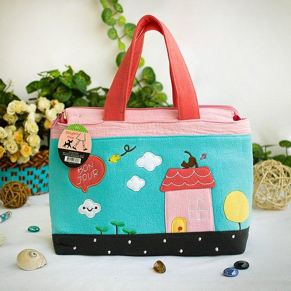 KT-BE-1-BLUE[Bon Jour] Fabric Art Tote Bag / Shopper Bag (9.3*7.2*4.2)