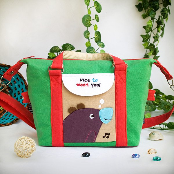 KT-BE-23-GREEN[Purple Bear - Green] Duffle Tote Bag / Shoulder Bag / Travel Bag (9.6*9.3*4.1)