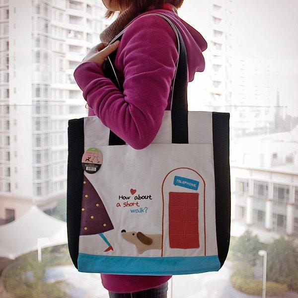 KT-BE-30-BLACK[A Short Walk] Fabric Art Shoulder Tote Bag / Shopper Bag (14*14.5*4)
