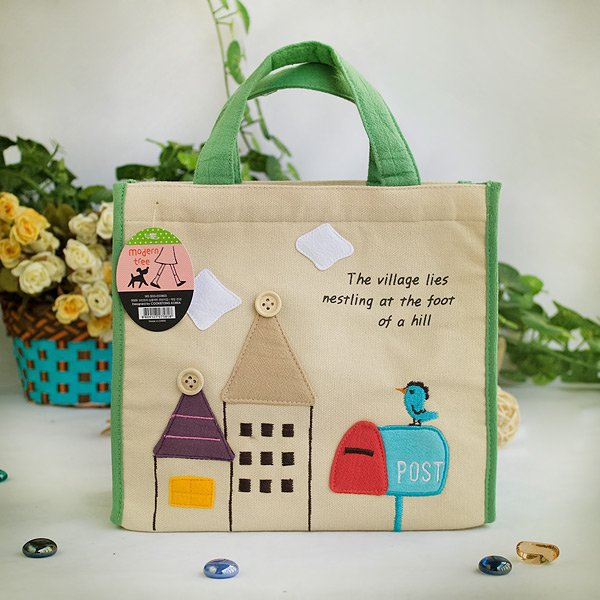KT-BE-32-GREEN[Bird On Postbox] Fabric Art Lunch Tote / Lunch Box Bag  (8.7*8*4.4)