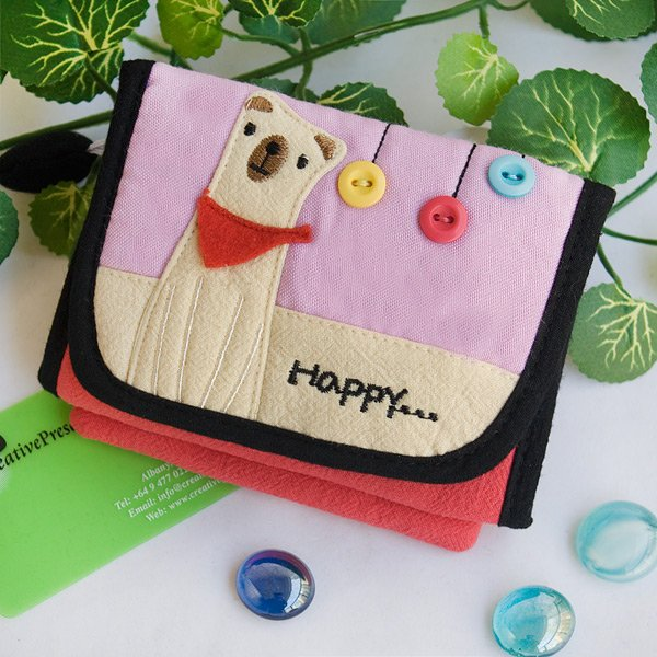 KT-BE-34-DOG[Happy White Puppy] Fabric Art Trifold Wallet Purse / Card Holder (4.7*3.5)