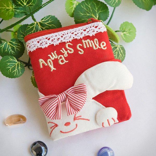 KT-BE-36-RABBIT[Always Smile Bunny] Fabric Art Wallet Purse / Card Holder / ID Holder(4.7*3.3)