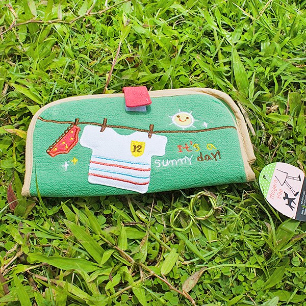 KT-BE-7-GREEN[Sunny day] Fabric Art Wallet Purse / Card Holder / ID Holder (7.1*3.7)
