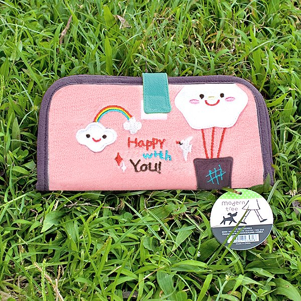 KT-BE-7-PINK[Happy With You] Fabric Art Wallet Purse / Card Holder / ID Holder (7.1*3.7)