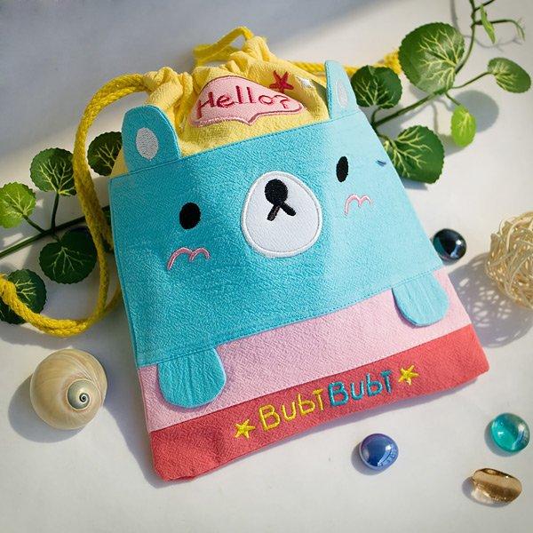 KT-BE-9-BEAR[Bubi Bear] Fabric Art Draw String Bag / Drawstring Pouch (6.7*8.5)