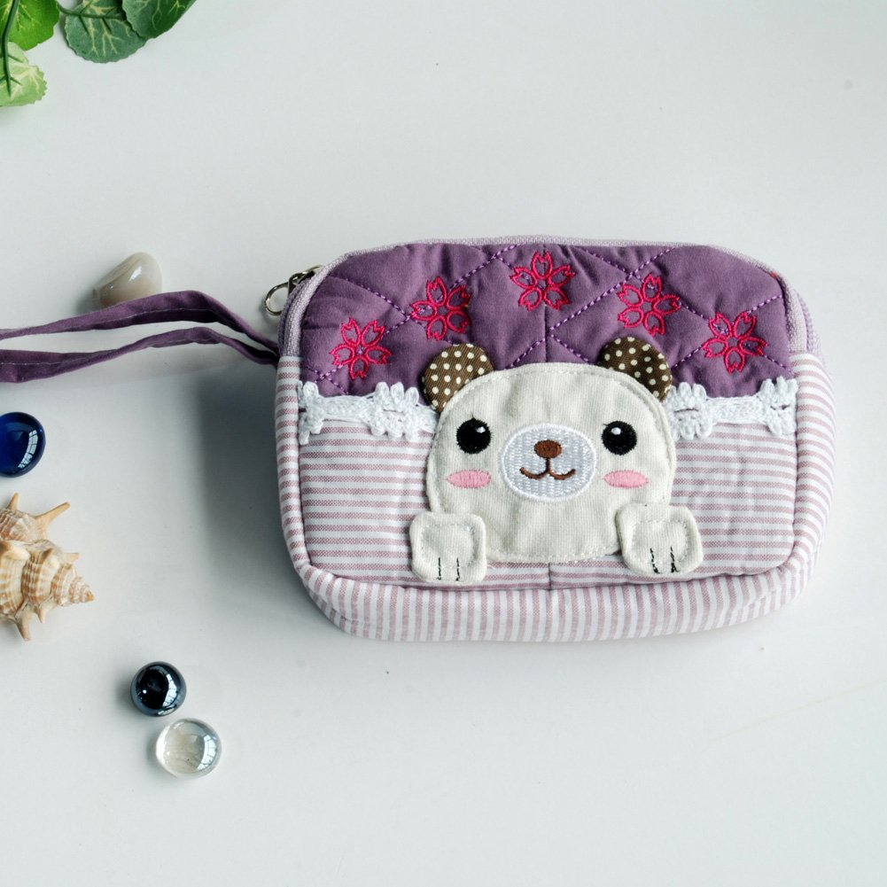 KTFK-THH498-PURPLE[Pretty Dog] Fabric Art Wallet Purse/ Pouch Bag (5.1 X 3.9 X 1.1 inches)