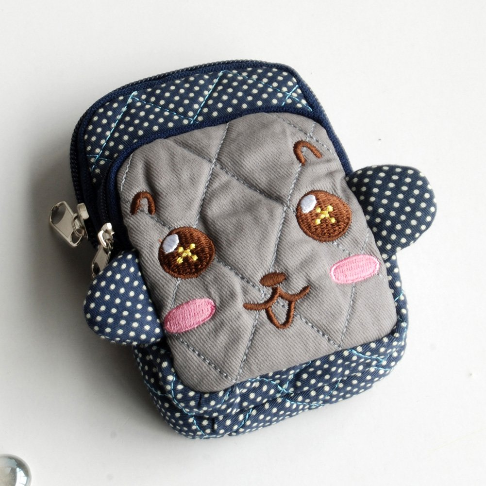 KTFK-THH517-BLUE[Vivid Monkey] Fabric Art Wallet Purse/ Pouch Bag (2.9 X 4.7 X 0.98 inches)