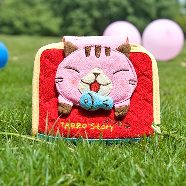 KT-GA-40-PINKCAT[Tarro story - Pink Cat] Fabric Art Wallet Purse / Card Holder (4.9*3.9)