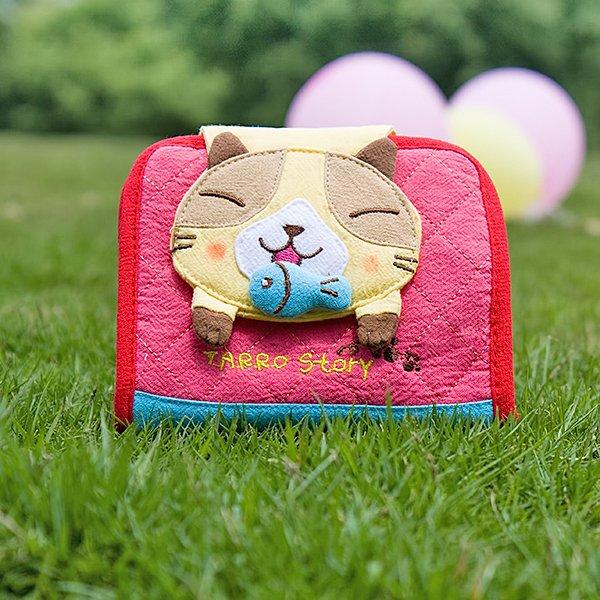 KT-GA-40-YELLOWCAT[Tarro story - Yellow Cat] Fabric Art Wallet Purse / Card Holder (4.9*3.9)