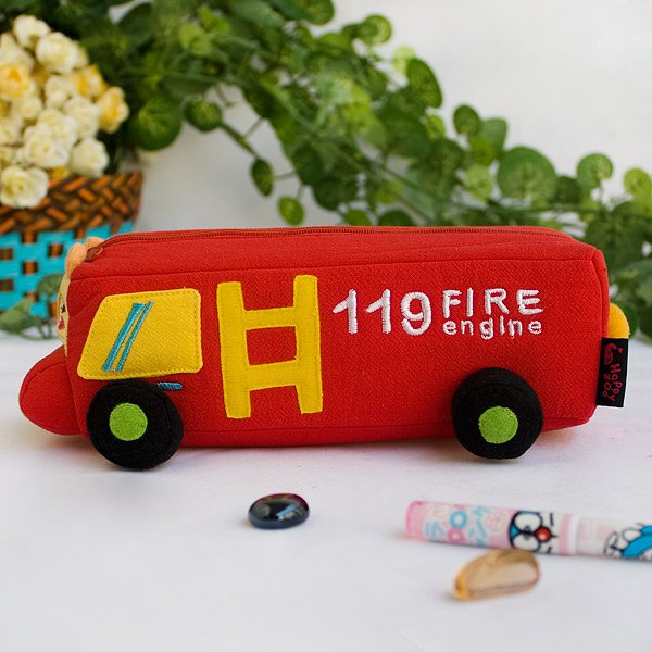 KT-HQ-2-RED[Fire Engine] Pencil Pouch Bag / Cosmetic Bag / Carrying Case (7.7*2.8*2.4)