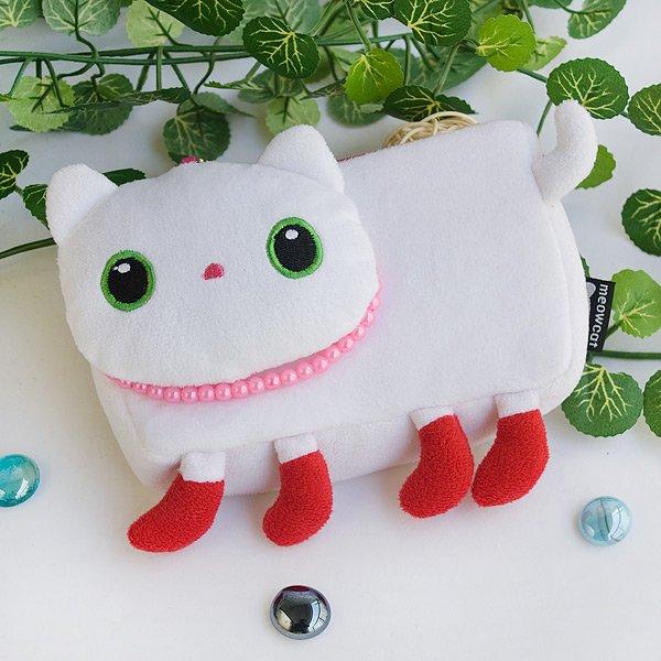 KT-HQ-32-WHITE-2[White Kitty] Medium Plush Gadget Cosmetic Bag / Camera bag (6.1*3.5*1.5)