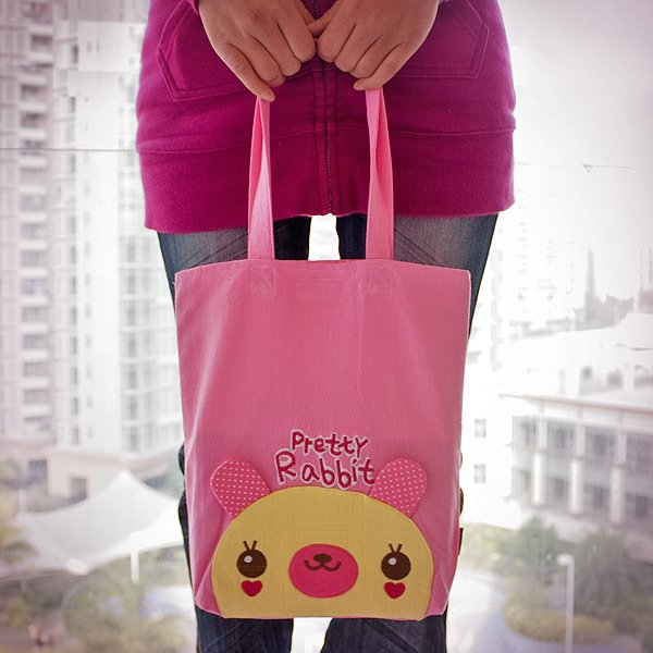 KT-HQ-36-RABBIT[Pretty Rabbit] Kids Fabric Art Tote Bag / Shopper Bag (9.5*10.6*2.1)