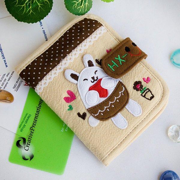 KT-HX-10-IVORY[White Bunny] Fabric Art Wallet Purse / Card Holder (4.7*3.7)