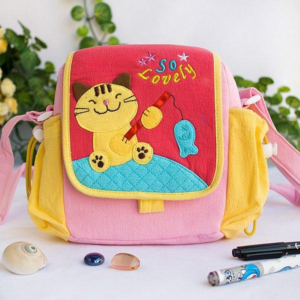 KT-HX-8-CAT[Kitty Loves Fish] Kids Kitty Shoulder Bag / Swingpack / Travel Bag (7.3*7*2.4)