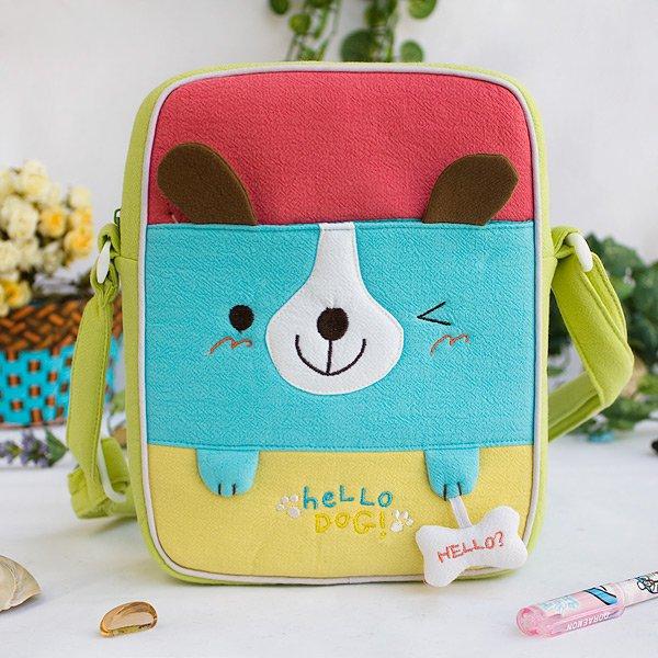 KT-K-137-DOG[Hello Dog] Fabric Art Shoulder Bag / Swingpack / Travel Bag (8.1*6.5*2.4)