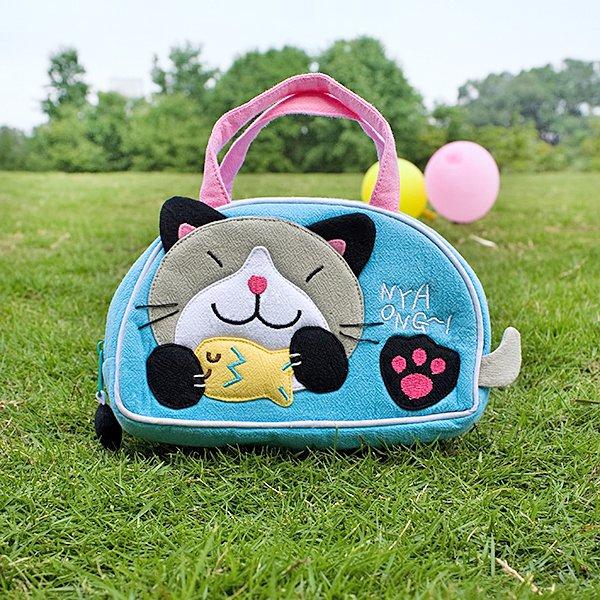KT-K-18-CAT[Kitty Loves Fish] Kids Mini Handbag / Cosmetic Bag / Travel Wallet (7.1*4.3*2)