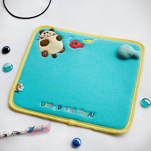 KT-K-199-CAT[Under The Sea] Fabric Art Mouse Pad / Mouse Mat / Mousing Surface (10.3*8.8)