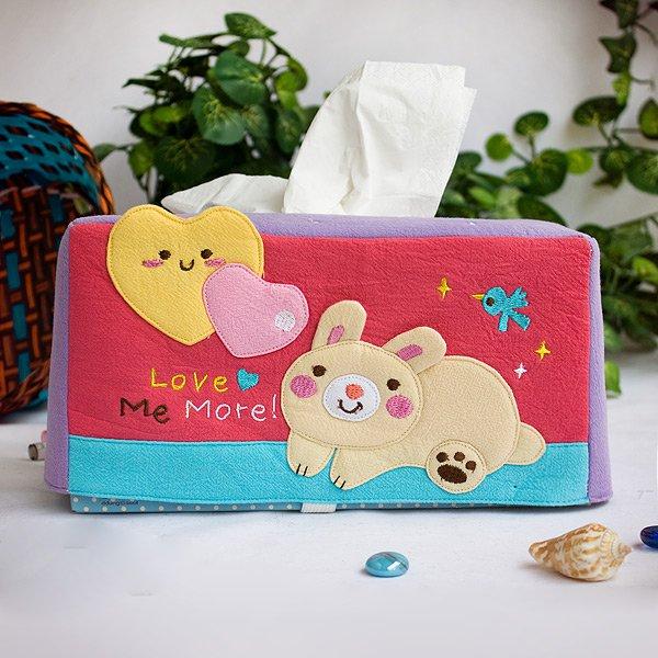KT-K-204-RABBIT[Rabbit & Heart] Fabric Art Tissue Box Cover Holder (8.7*4.5*4.5)