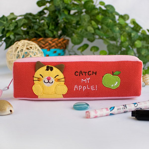 KT-K-223-CAT[Catch My Apple] Pencil Pouch Bag / Cosmetic Bag / Carrying Case (7.5*2.2*1.6)