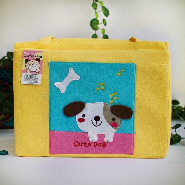 KT-K-31-DOG[Cute Dog] Fabric Art Shoulder Tote Bag / Shopper Bag (12.2*8.4*4.4)