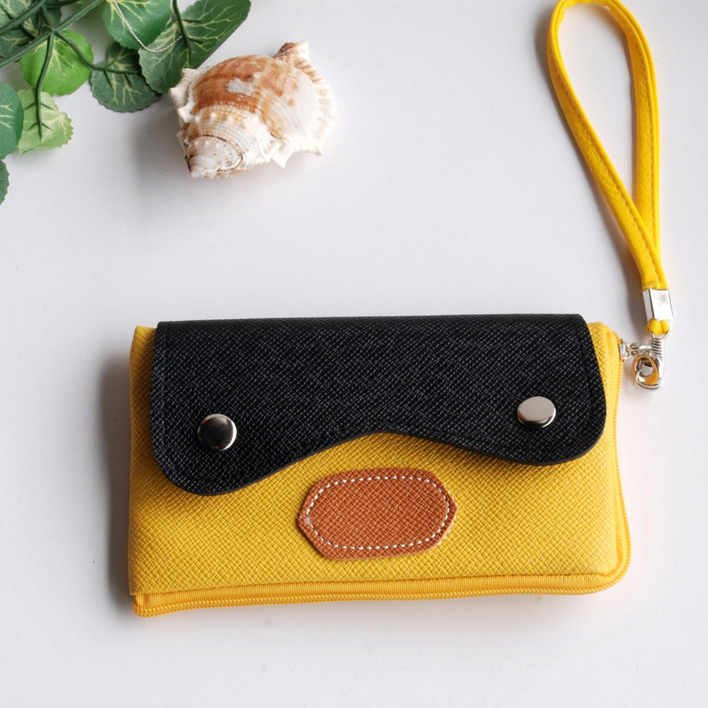FB-BX002-YELLOW[Classic Beauty] Colorful Leatherette Mobile Phone Pouch Cell Phone Case Clutch Pouch