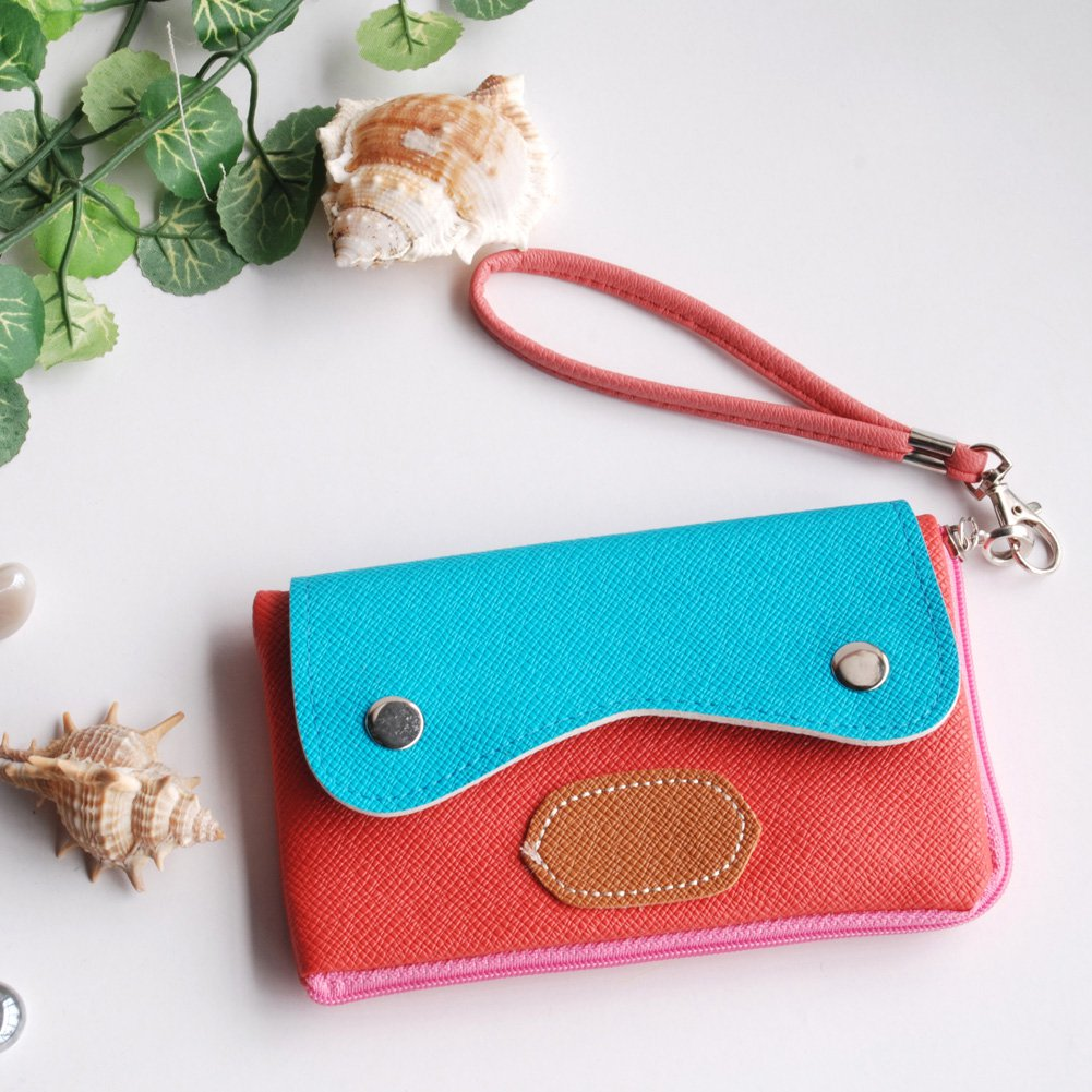 FB-BX003-PINK[Sun and Sky] Colorful Leatherette Mobile Phone Pouch Cell Phone Case Clutch Pouch