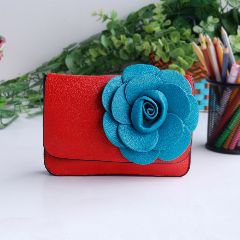 FB-BX060-RED[Sunny Romantic] Flower Leatherette Clutch Shoulder Bag Clutch Casual Purse