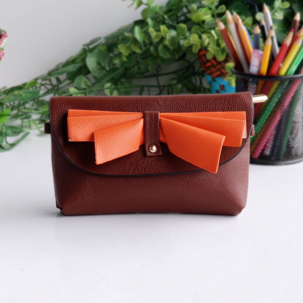 FB-BX069-BROWN[Elegance Coffee] Colorful Leatherette Clutch Shoulder Bag Clutch Casual Purse